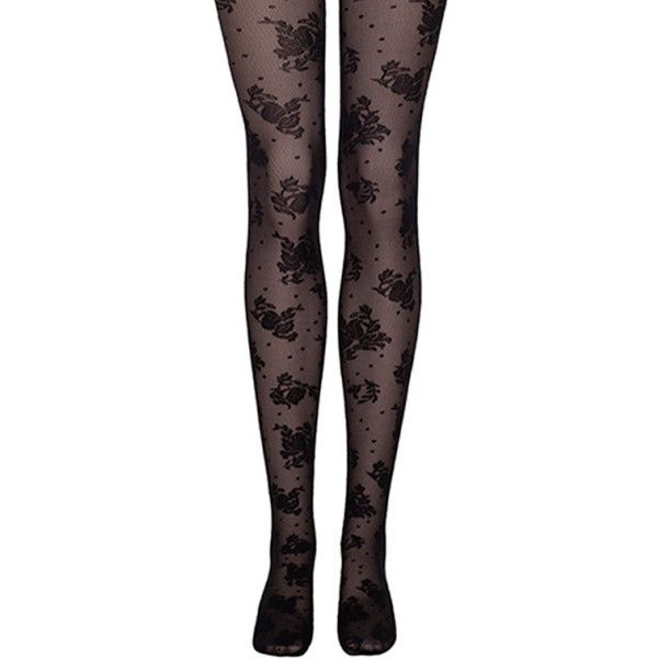 Garden Party Floral Tight (€23) ❤ liked on Polyvore featuring intimates, hosiery, tights, bottoms, socks/tights, socks, sheer stockings, polka dot stockings, sheer tights and dot tights
