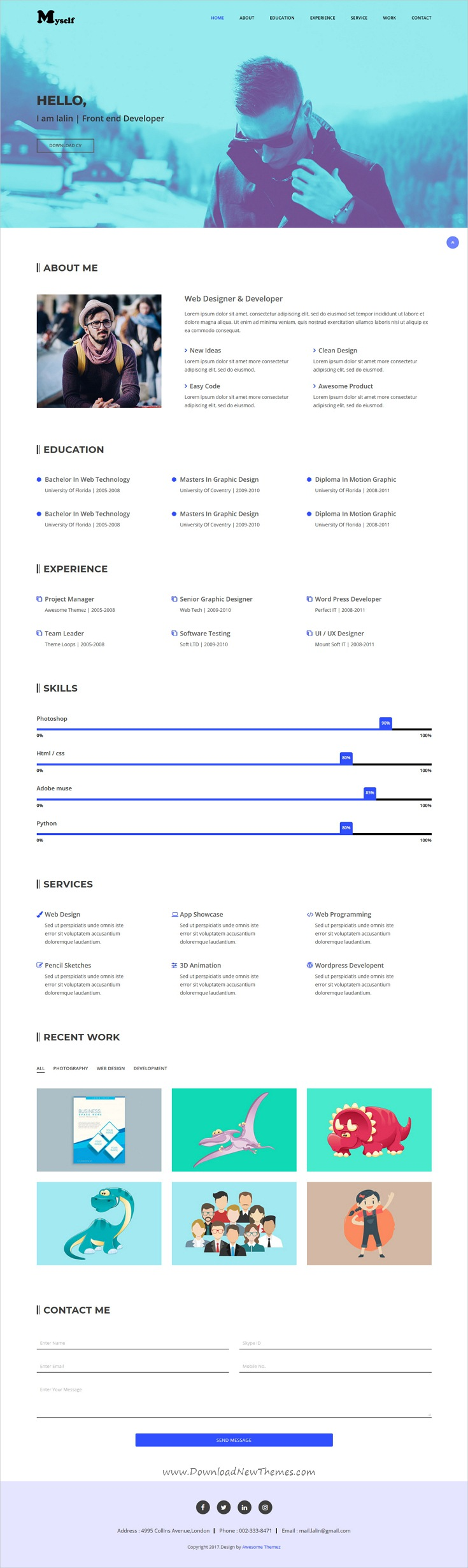 MYSELF Resume or Portfolio HTML Template (With images