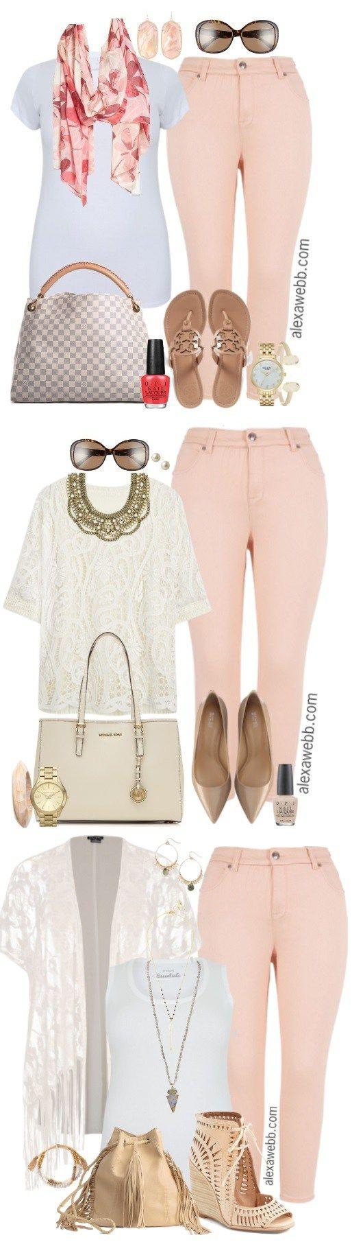 Plus Size Pastel Pink Jeans Outfits - Alexa Webb #jeansplus