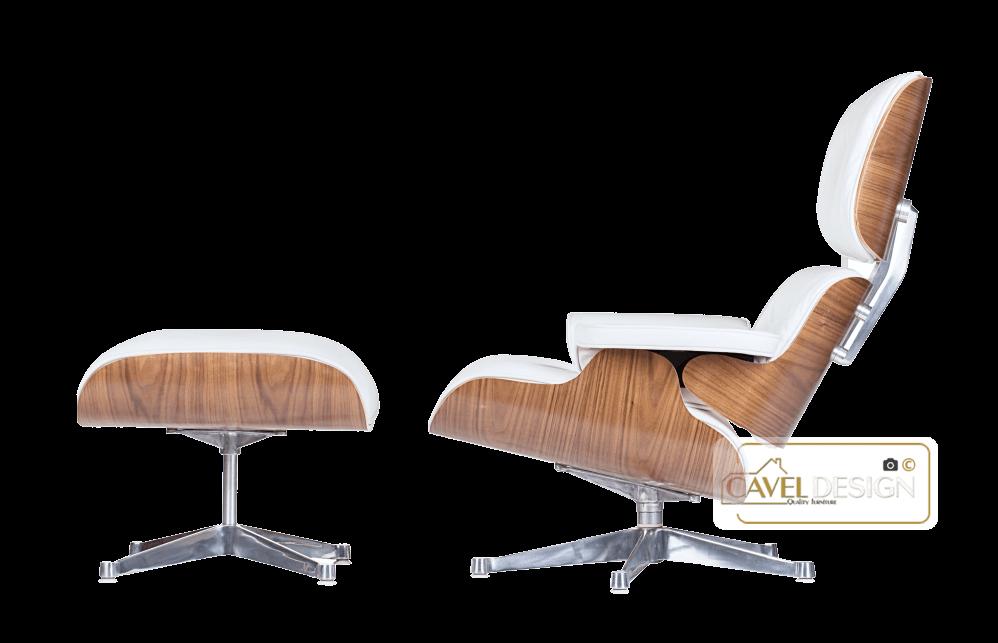 Design Fauteuil Wit Leer.Lounge Chair Xl Met Ottoman Wit Leer Walnoot Hout Cavel Design