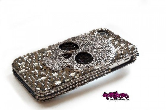 Blinged out iPhone cases | lux addiction iphone 4 4s 5 blinged out case skull case crystals deco ...