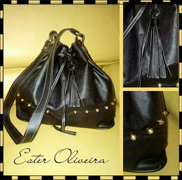 4b3548e4c6 Bucket bag black bolsa saco preta spike Brazil Atelier Ester Oliveira