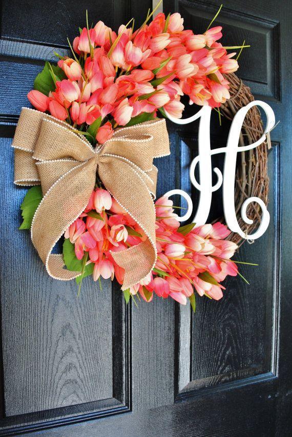 Photo of Spring wreath for front door, pink / orange tulip, monogram wreath, Mother's Day gift wreath, housewarming party, wreath, Easter wreath, door wreath