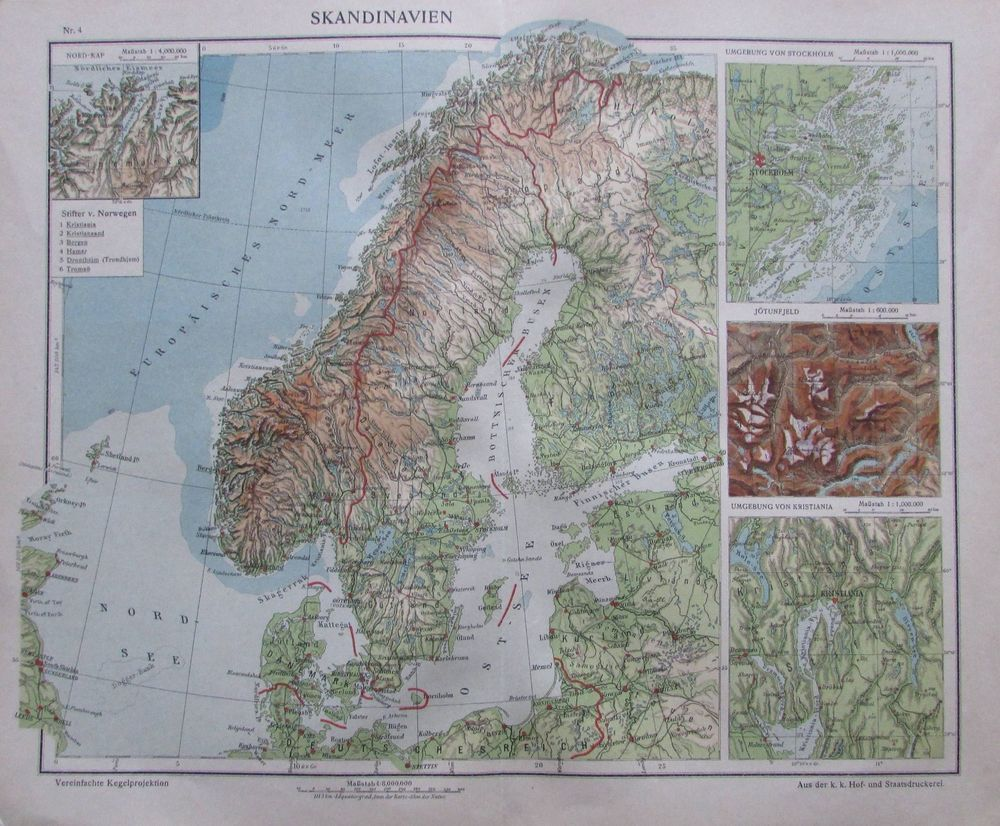 Details Zu Skandinavien 35 X 29 Cm Karte Aus 1913 Old Map