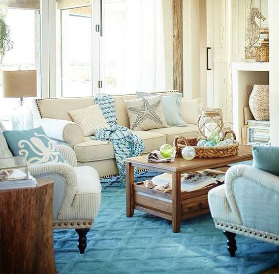 Blue & Sandy Beige Living Room | Beach living room, Beige ...