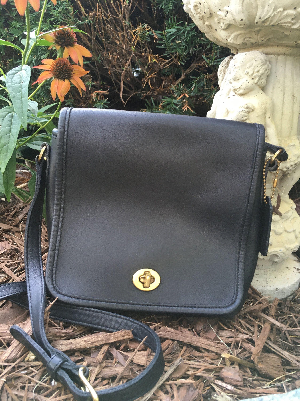 Black coach leather cross body bag vintage purse vintage