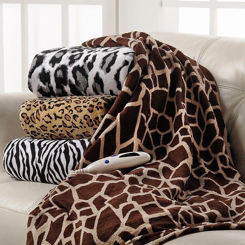 Heated Plush Throw Blanket AnimalPrint At HSN Snow Leapord Inspiration Giraffe Print Throw Blanket