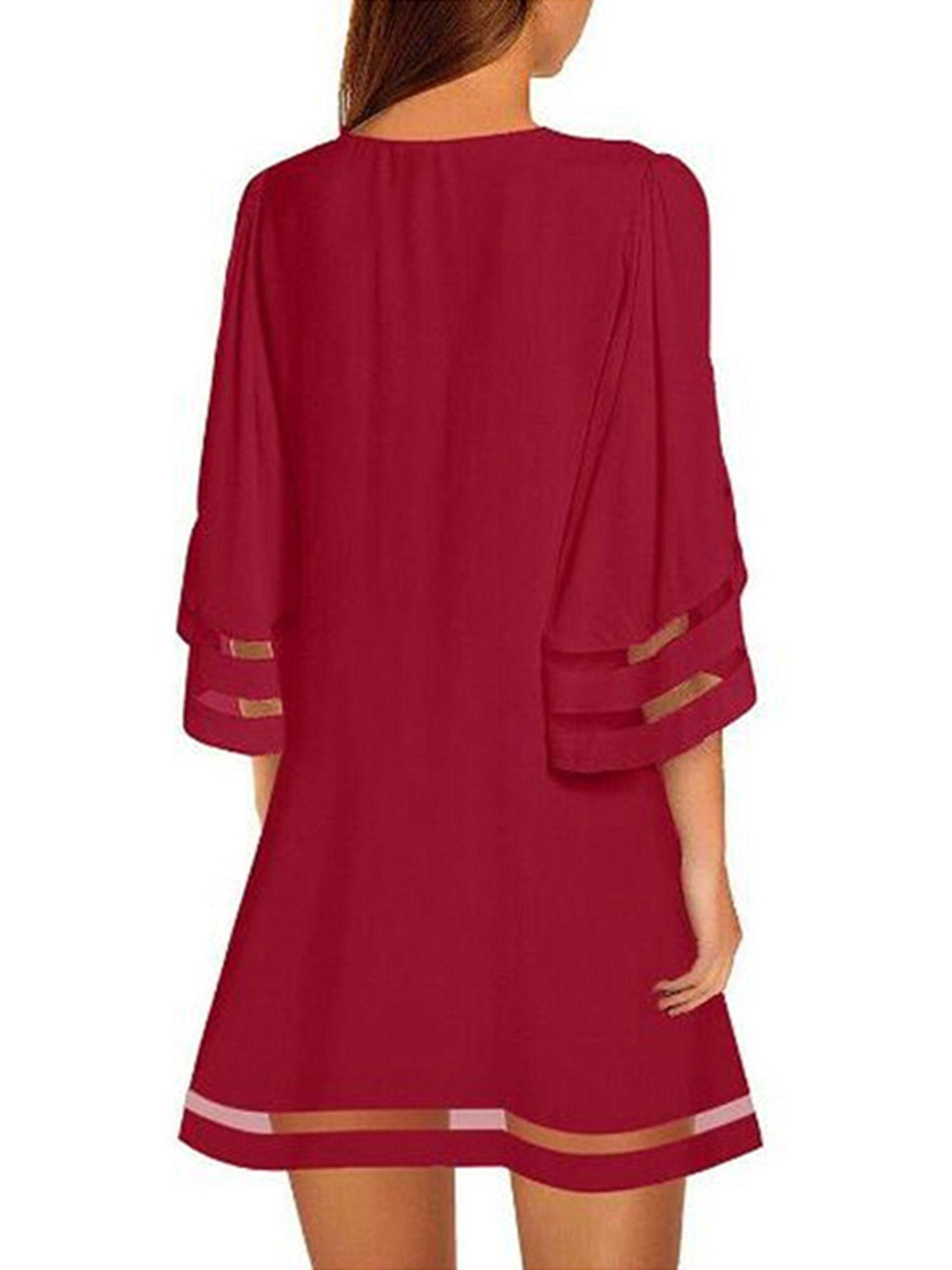 Tunic Dresses For Women V Neck Mesh Panel Blouse 3//4 Bell Sleeve Loose Top Shirt Dress