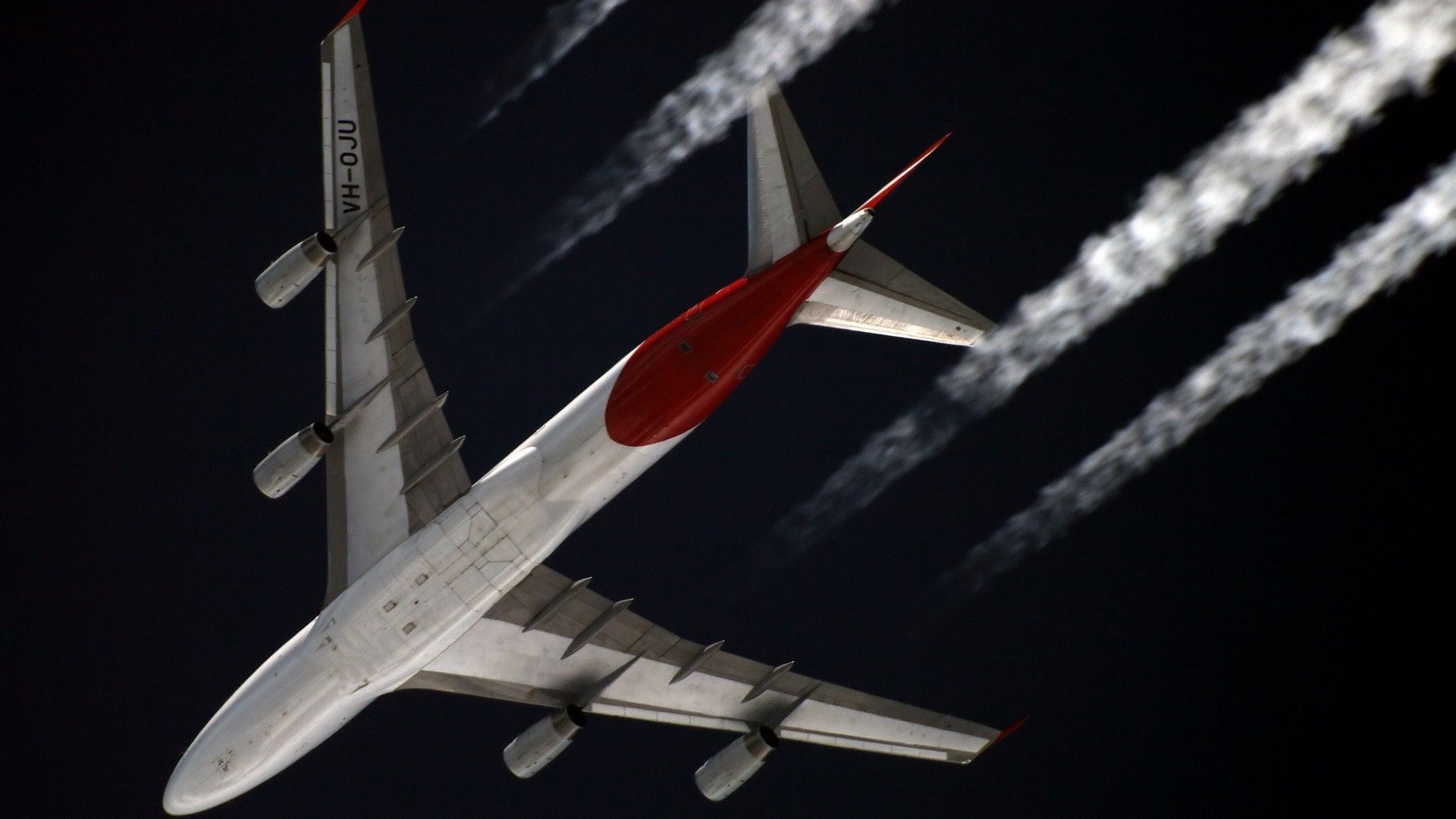 Boeing 747 aircraft airliners contrails (1920x1080, aircraft, airliners, contrails)  via www.allwallpaper.in