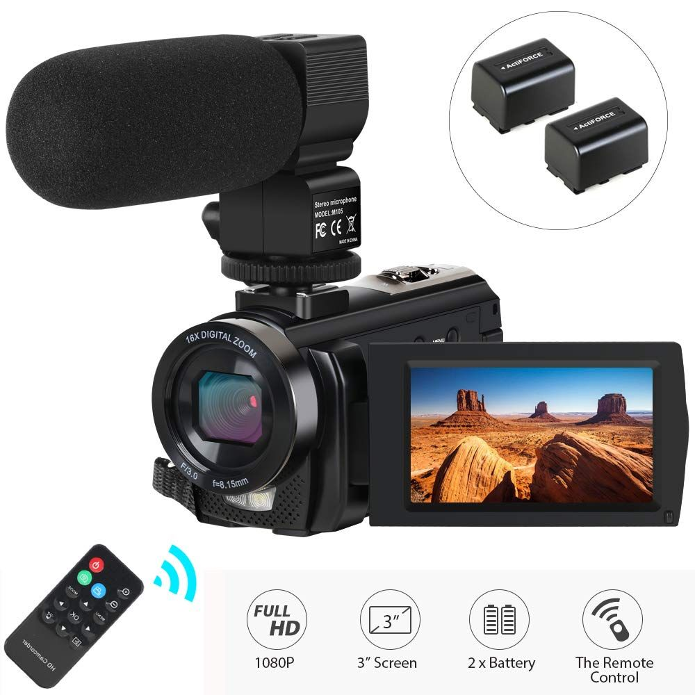 Video Camera Camcorder Actinow Digital Camera Recorder With Microphone Hd 1080p 24mp 16x Digital Zoom 3 0 Inch Lcd 270 Degrees Rotatable Screen Y Vlogging Camera