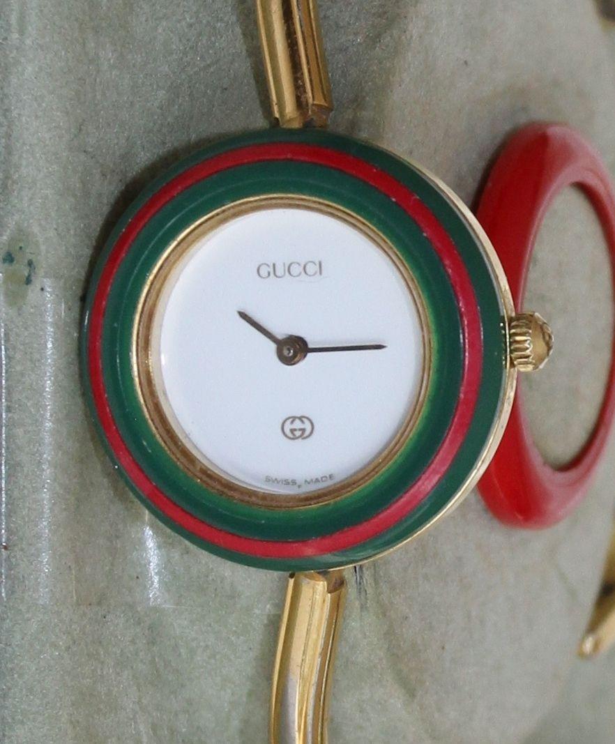 4bd0076e7d8 GUCCI WATCH SET-12 Changeable Colors-Bangle Bracelet-Vintage Box ...