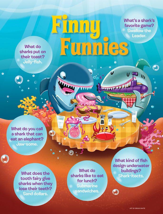 Finny Funnies shark jokes from Ranger Rick magazine
