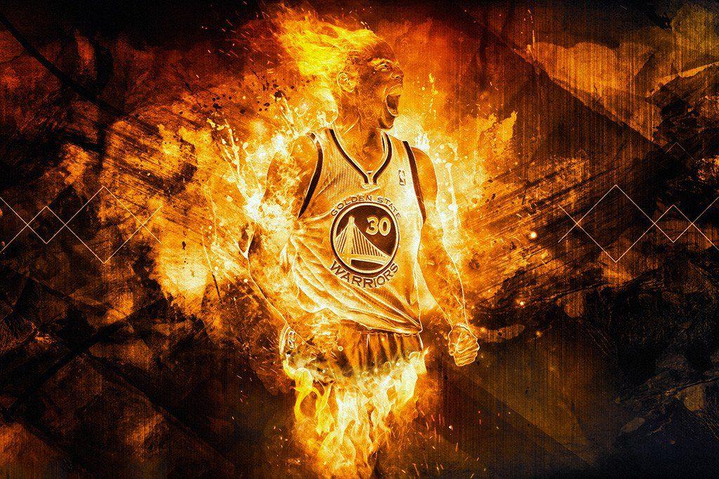Stephen Curry Golden State Warriors Fire Basketball Nba Poster Stephen Curry Golden State Warriors Nba