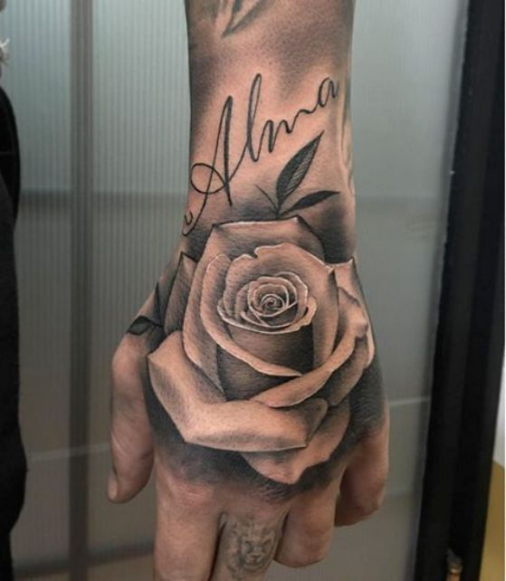 Rose Tattoo On Hand With A Name Alma Tatuajes De Rosas Diseños