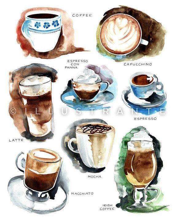 Coffee Art Print Decor Kitchen Watercolor Painting 8x10 Artw