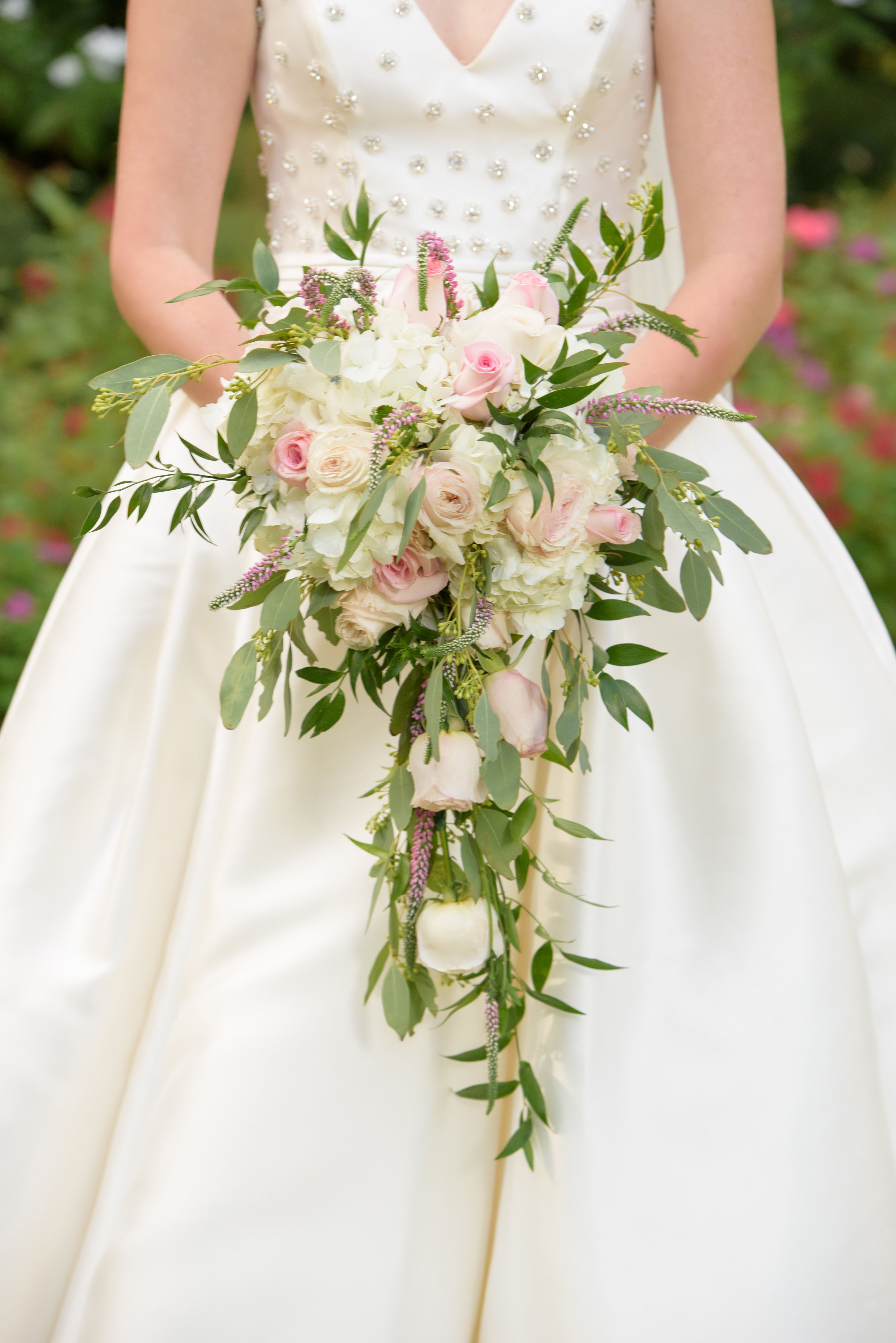 Cascading Bouquet With Pink And White Flowers Cascading Bouquet