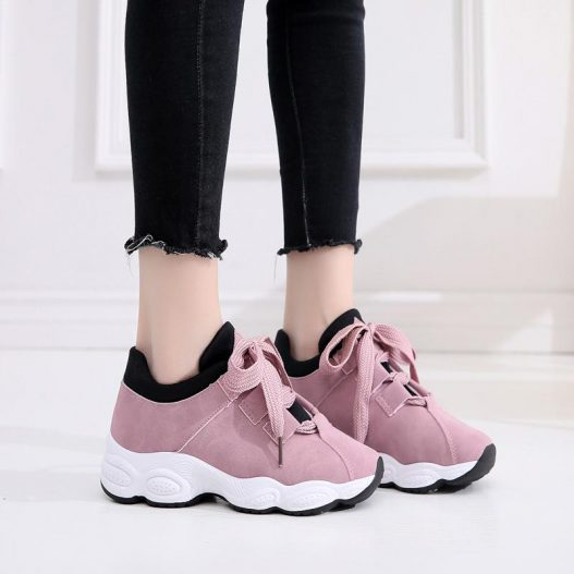 Platform Casual White Sneakers in 2020   Womens flats
