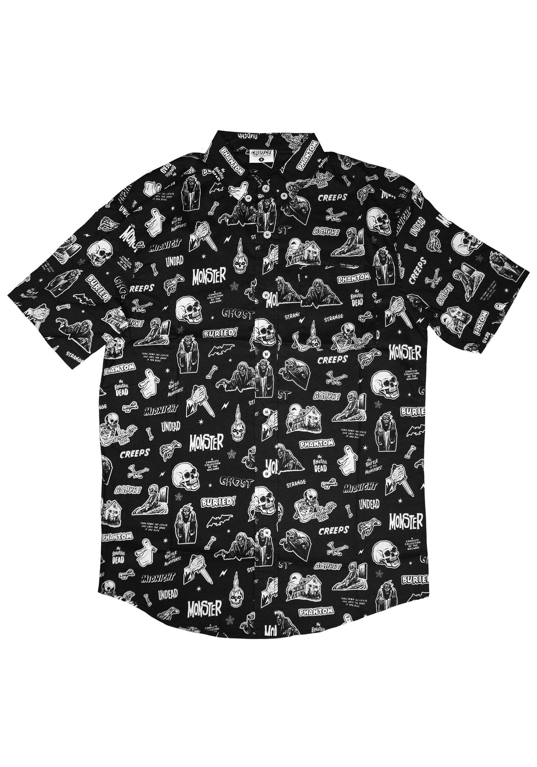 acd38e5495 Mens Vintage Horror Comix Button-Up Shirt | clothing, accessories ...