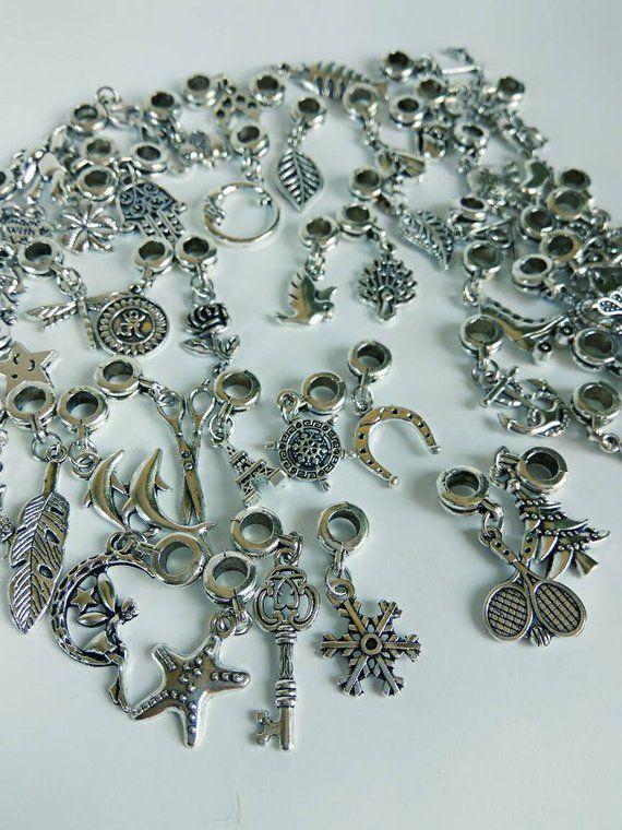50pcs mix Charms Beads Fit sterling 925 Necklace European charm Bracelet Chain