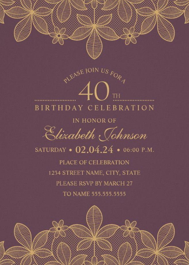 Golden Lace Wine Red 40th Birthday Invitations - Elegant Luxury ...