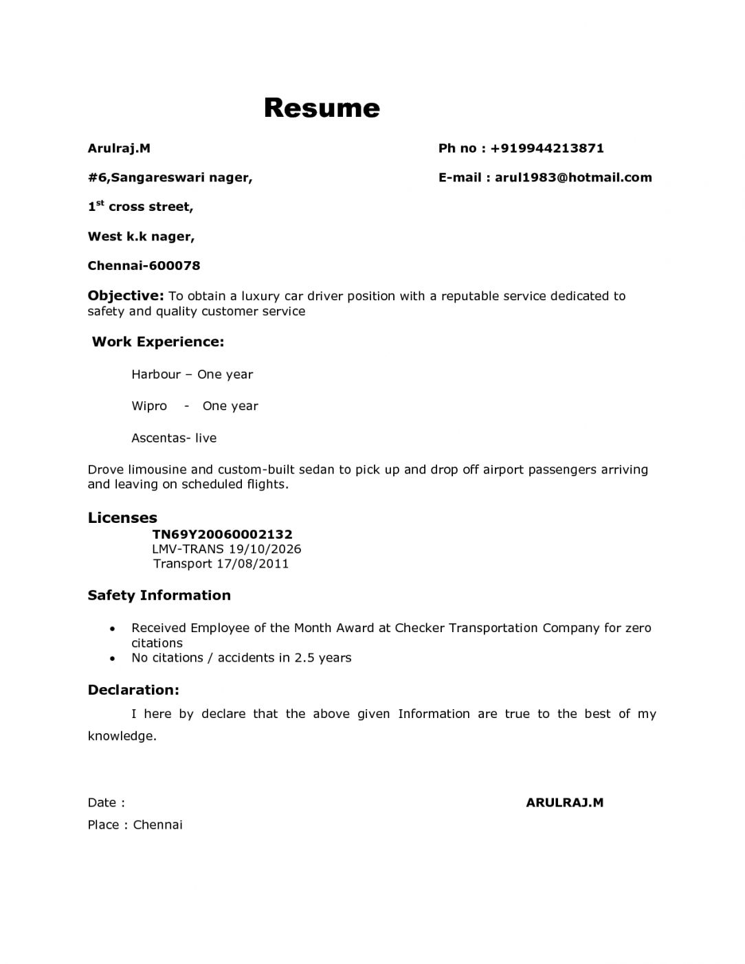 Bus Driver Contract Sample (2020) Cv format, Bus driver