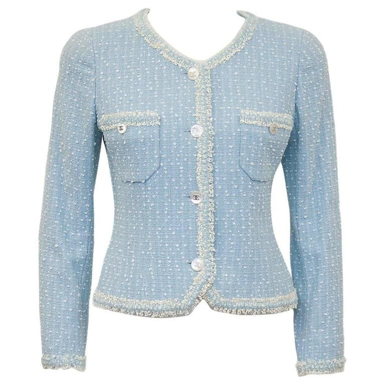 100c408b7f8b49 Spring 1997 Chanel Baby Blue Boucle Jacket in 2019 | Runway looks I ...