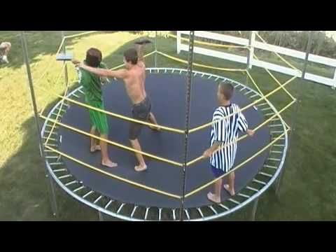 Backyard Trampoline Wrestling Ring - YouTube for the E-monster - copy coloring pages wwe belts