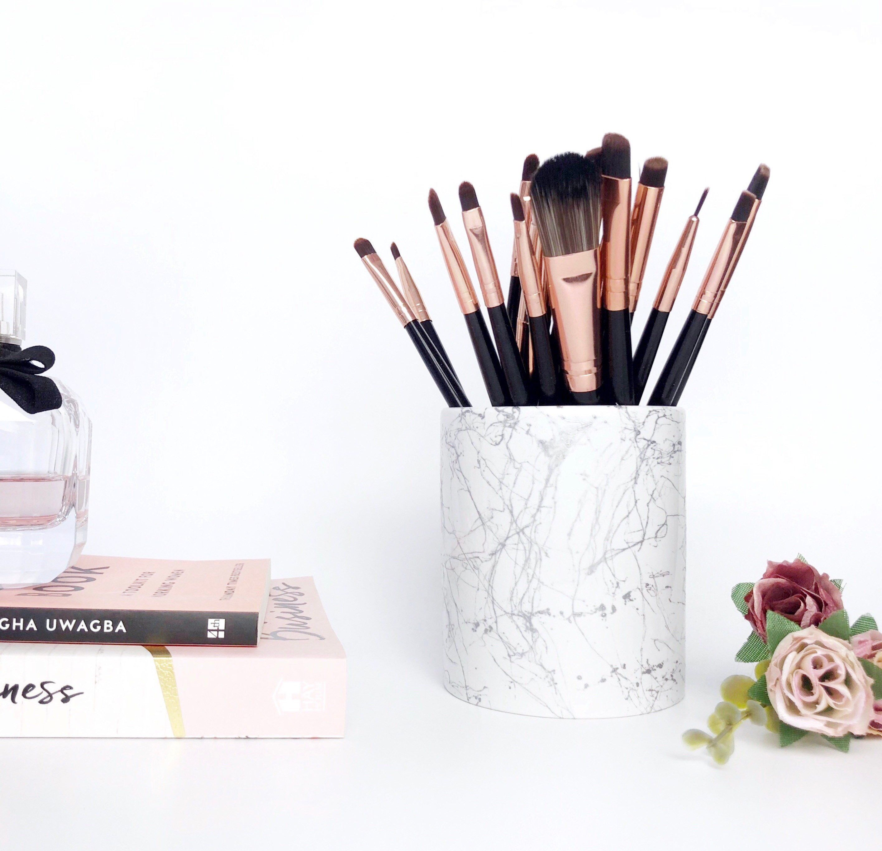 Marble MAKEUP BRUSH HOLDER marble desk accessories