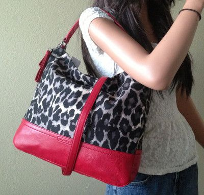 Coach Animal Ocelot Leopard Print Black Red Hobo Shoulder
