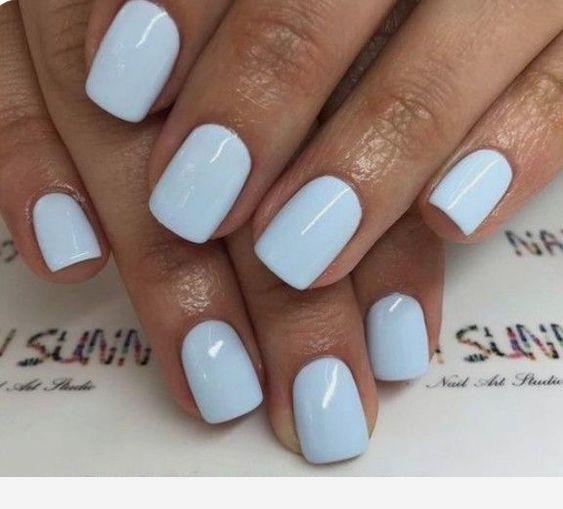 Light Blue Short Nails Blue Light Nails Short In 2020 Pretty Nails Short Acrylic Nails Short Gel Nails