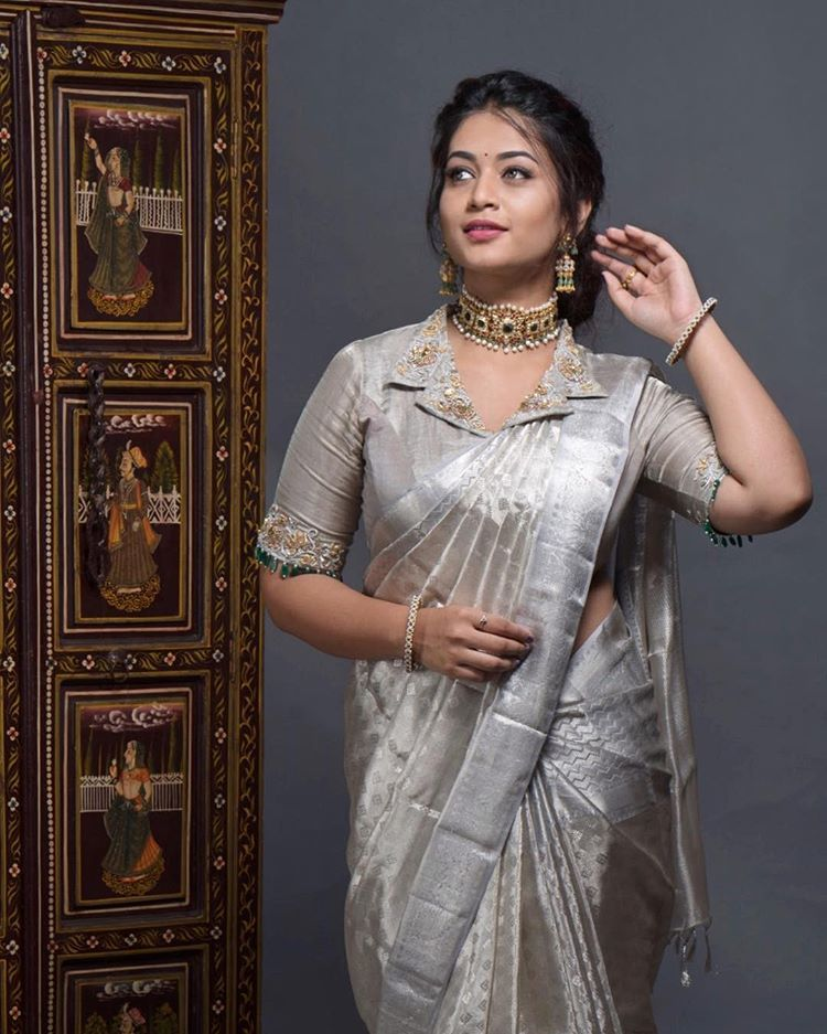 """Keep Me Stylish on Instagram: """"Never underestimate a silver hue! Swetha (@one_pitch_catch) redefining silk saree style with this gorgeous drape from @mahaveers.sarees and…"""""""