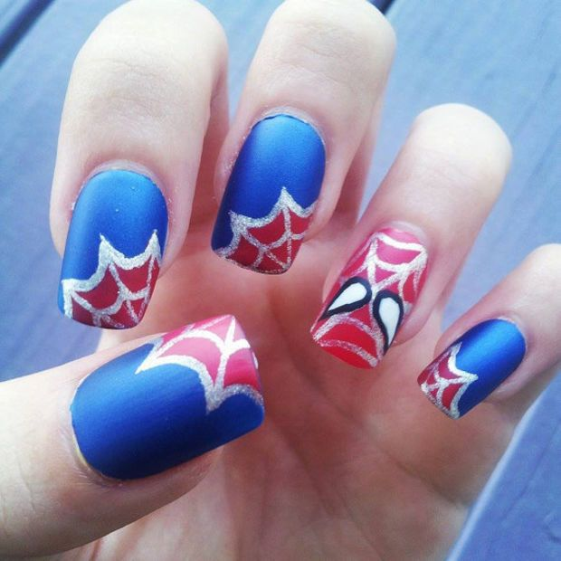 Spider man hand painted fake nails nail designs pinterest spider man hand painted fake nails prinsesfo Choice Image