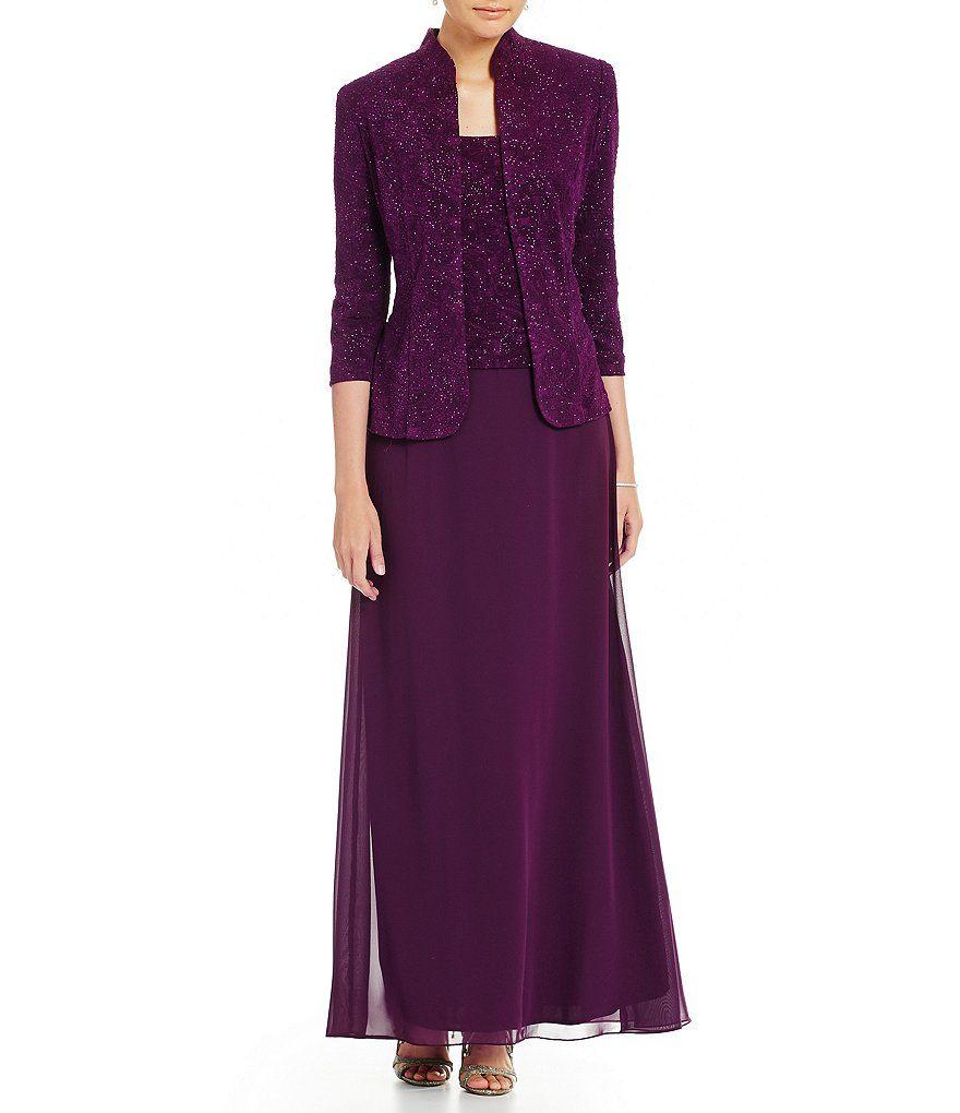 Alex evenings sequin aline jacket dress in mother of the