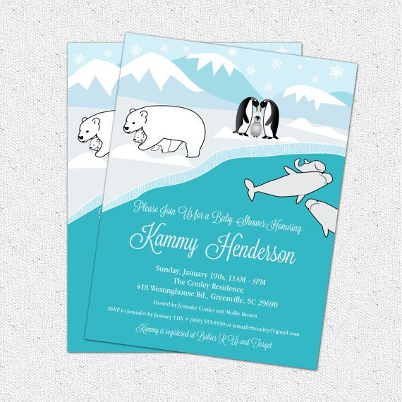 Polar Bear Winter Baby Shower Invitation  Neutral Or Boy