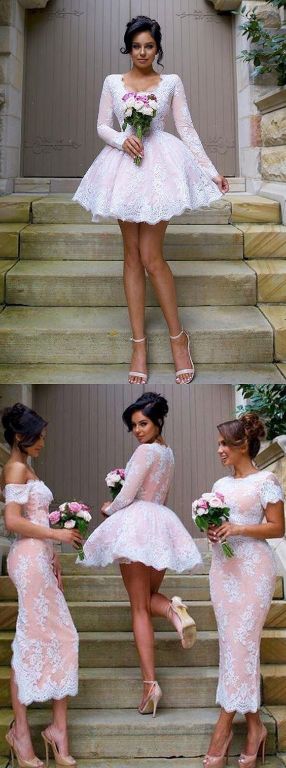 Nectarean vneck long sleeves short pink ball gown bridesmaid dress