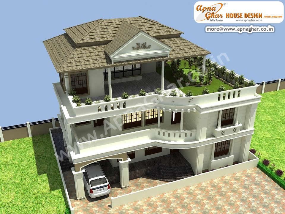 8 bedroom, modern triplex (3 floor) house design. area: 1,224 sq