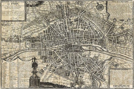 ANTIQUE PARIS MAP Antique Map Print Professional Reproduction Vintage Map