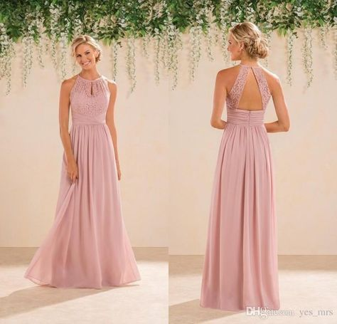 1d5a09738979 2016 New Dusky Pink Bridesmaid Dresses Cheap Jewel Neck Wedding Guest Wear  Lace Chiffon Floor Length Open Back Party Maid Of Honor Gowns Chocolate ...