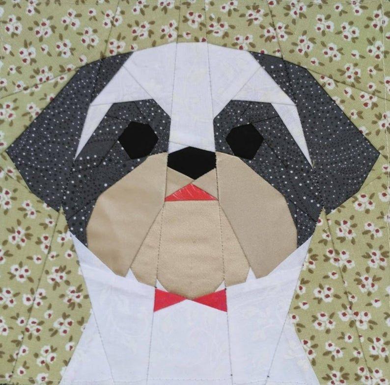 Shih Tzu boy quilt block pattern (With images) | Quilt ...