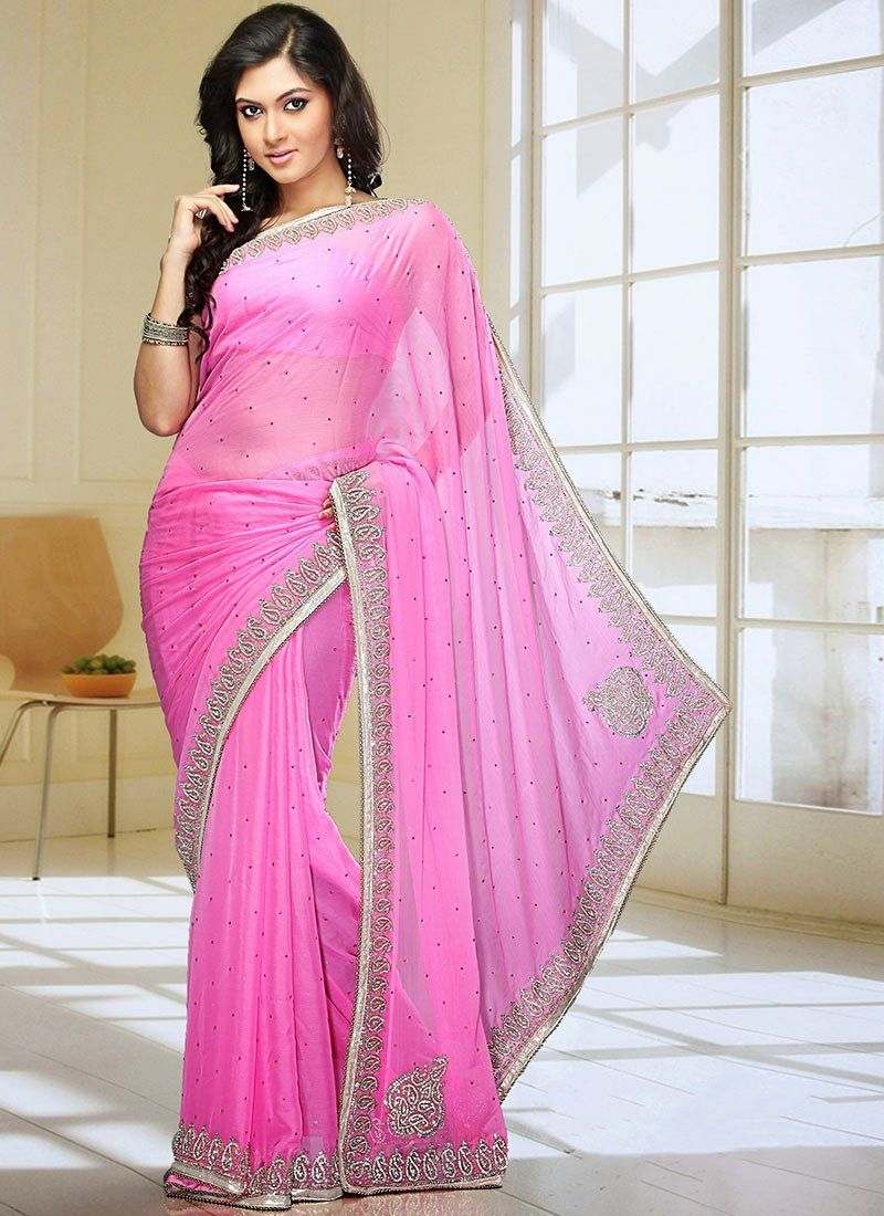 Buy Ornated Pink Satin Chiffon Saree at Best Price|Buy Party Wear ...