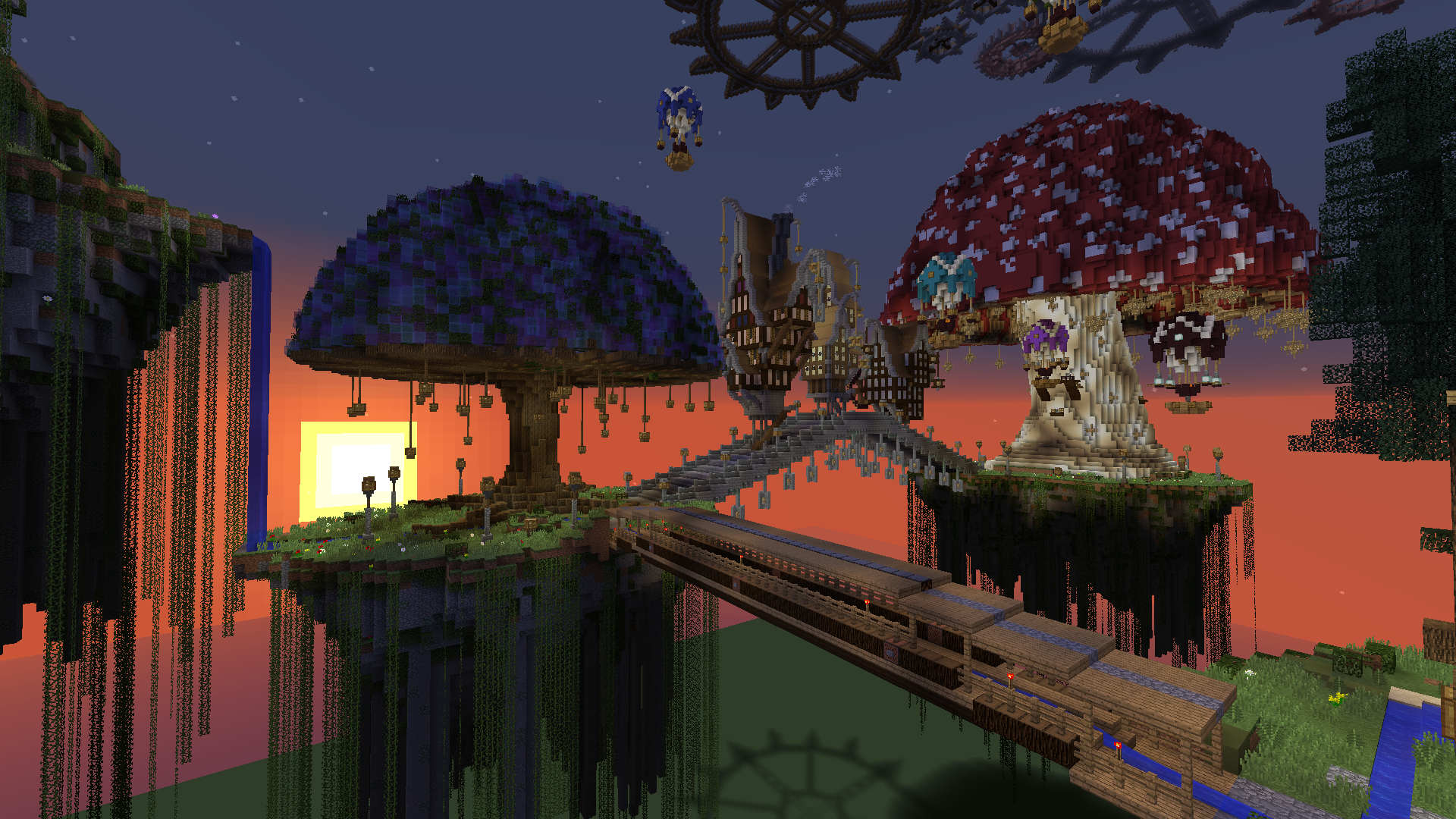 Weird tree and giant mushroom on Steampunk map | Minecraft | Giant
