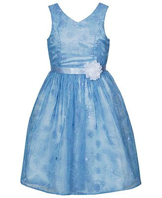 Bloome Girls' Plus Embroidered Empire-Waist Dress