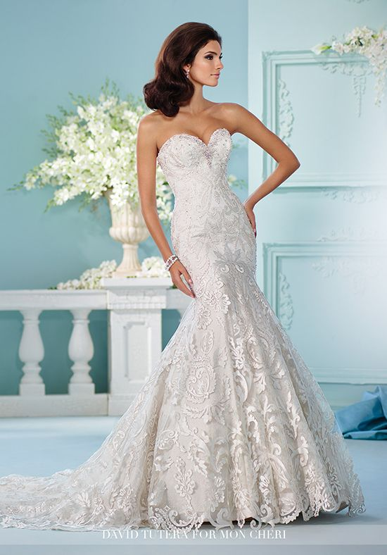 Strapless all-over lace wedding dress with sweetheart neckline and ...