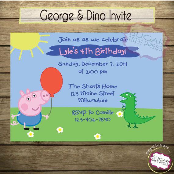 24 George Pig And Dinosaur Birthday Invitations More Boyish