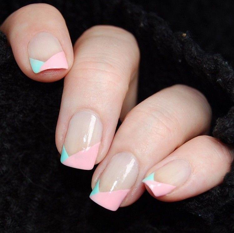 Nageldesign In Rose Und Mintgrun An Den Nagelspitzen Nagel Pastell