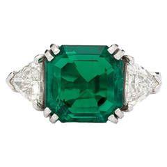 5.40 Carat Colombian Emerald Platinum Ring