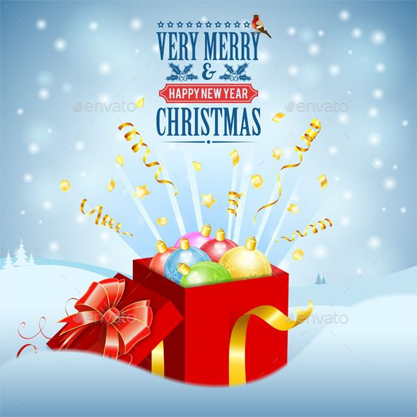 christmas gift with colorful baubles on snowy background file saved as eps 10 use transparency effects and different blending modes to add volume and