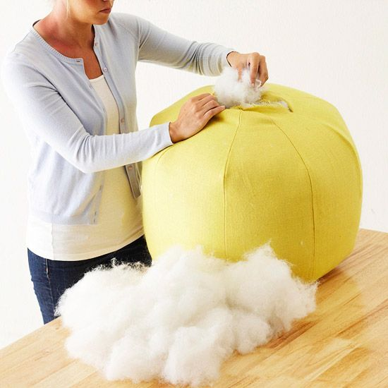 Diy Pouf Ottoman An Idea For Stuffing It That Won T Break The