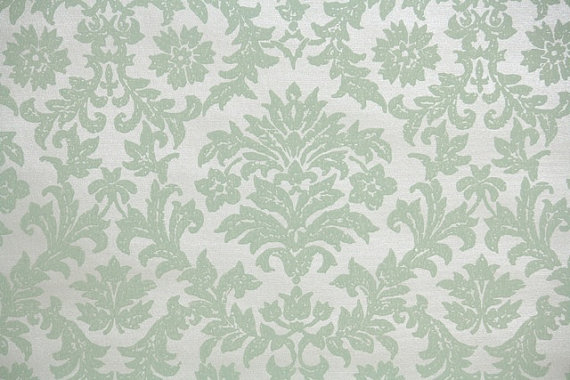 1940s Vintage Wallpaper By The Yard Pale Green Victorian Damask