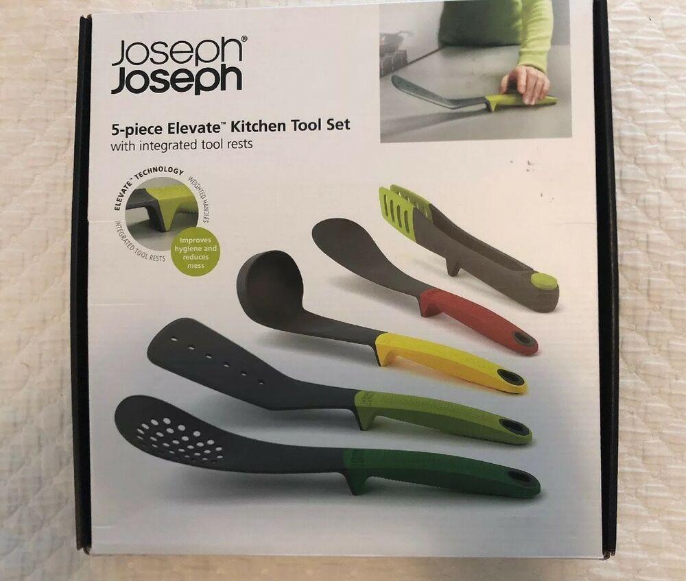 5pc Joseph Joseph Elevate Set Tongs Ladle Turner Spoon Slot Spoon 5028420101195 Ebay Kitchen Tool Set Soap Pump Dispenser Kitchen Drawing